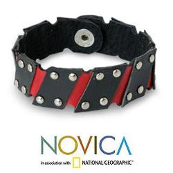 Handcrafted Leather 'Black and Red' Wristband Bracelet (Thailand) - Thumbnail 1