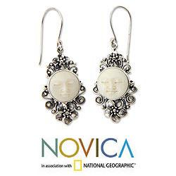 Sterling Silver 'Frangipani Moon' Cow Bone Flower Earrings (Indonesia)