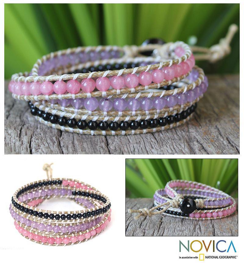 Leather 'Night Orchids' Multi-gemstone Wrap Bracelet (Thailand)