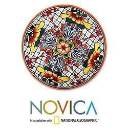 Handcrafted Ceramic 'Happy Tradition' Talavera Serving Plate (Mexico)
