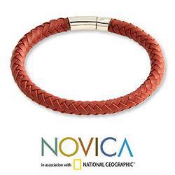 Handmade Men's Sterling Silver 'Brick Road' Leather Bracelet (Indonesia)