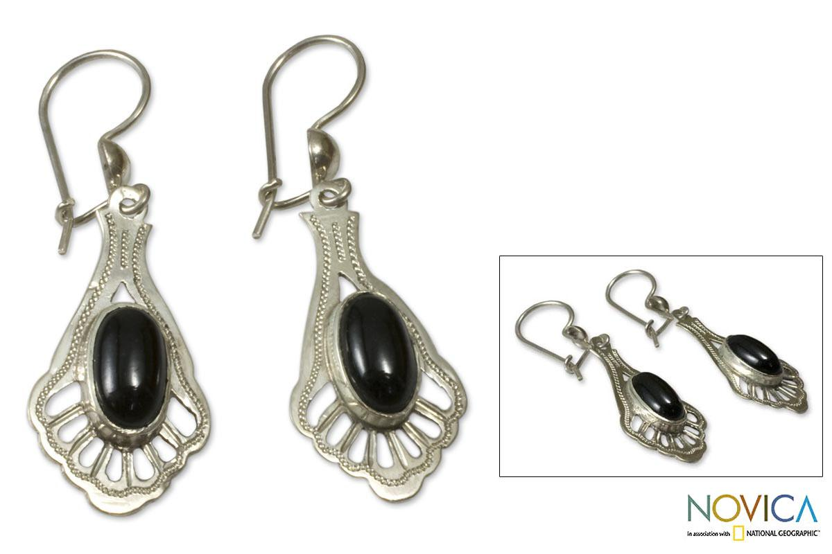 Sterling Silver 'Black Peacock' Jade Dangle Earrings (Guatemala)