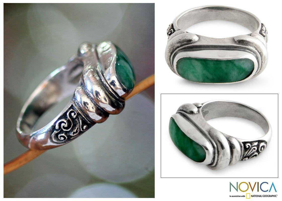 Men's Sterling Silver 'Wisdom' Jade Ring (Indonesia)