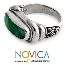 Men's Sterling Silver 'Wisdom' Jade Ring (Indonesia) - Thumbnail 1