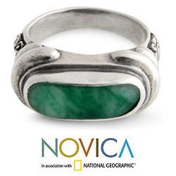 Men's Sterling Silver 'Wisdom' Jade Ring (Indonesia) - Thumbnail 2