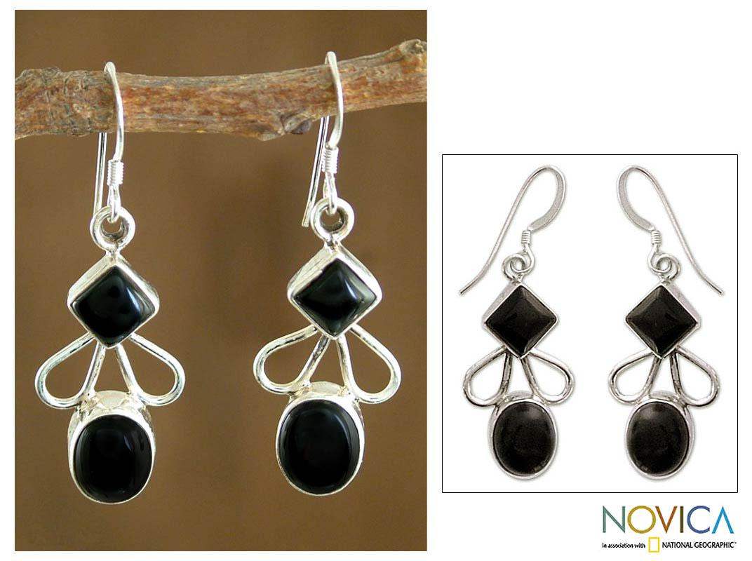 Sterling Silver 'Dream of Me' Onyx Dangle Earrings (India)