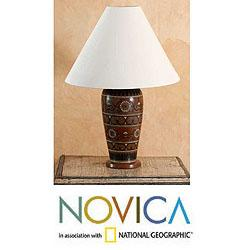 Handcrafted Ceramic 'Floral Antique' Table Lamp (Mexico)