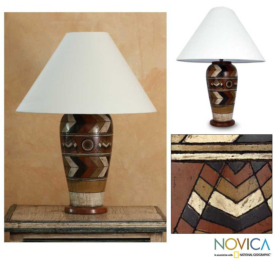 Handmade Ceramic Land Of The Aztec Table Lamp Mexico