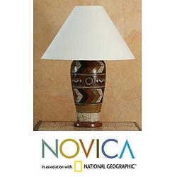 Handcrafted Ceramic 'Land of the Aztec' Table Lamp (Mexico)