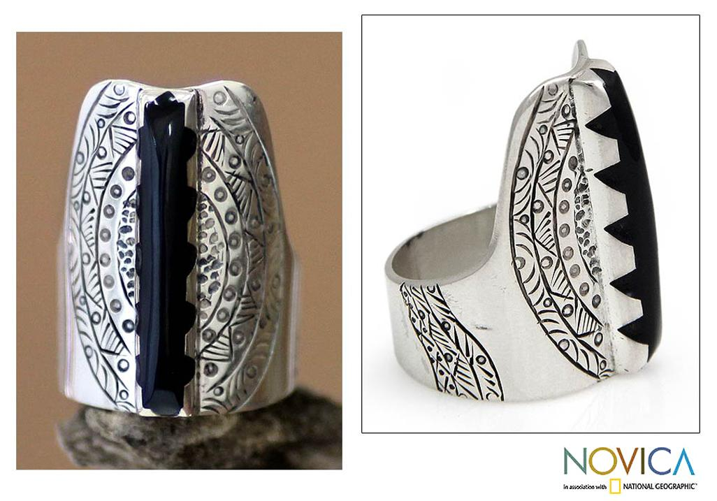 Sterling Silver 'Tuareg Legacy in Black' Ring (Indonesia)