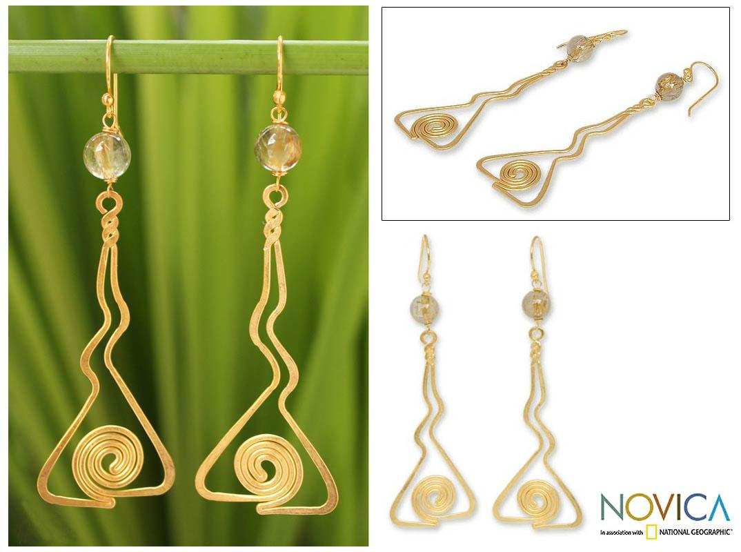 Gold Overlay 'Immortal' Rutile Quartz Dangle Earrings (Thailand)