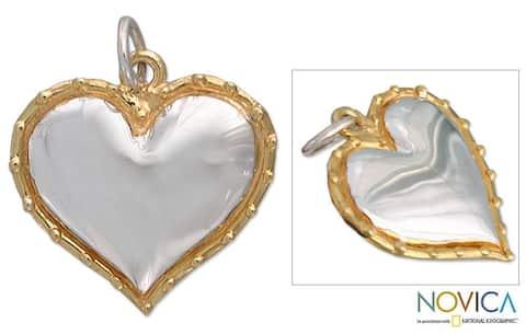 Handmade Gold Overlay 'Radiant Heart' Pendant (Mexico)