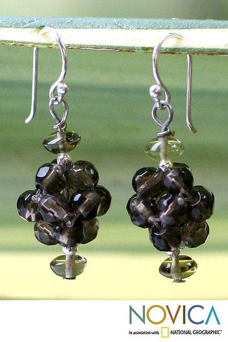 Sterling Silver 'Smoky Mystique' Quartz Cluster Earrings (Thailand)