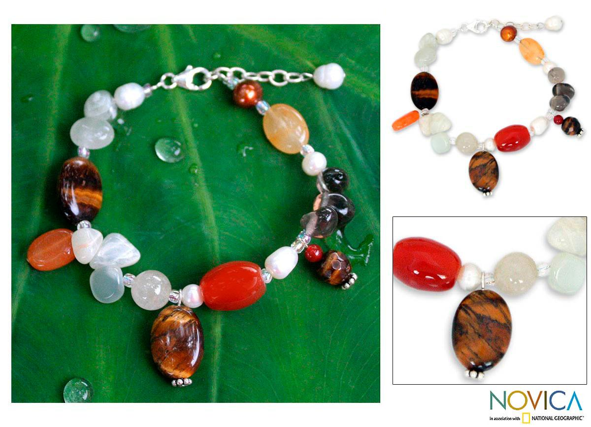 Pearl 'Sun Goddess' Multi-gemstone Bracelet (6 and 10 mm) (Thailand)