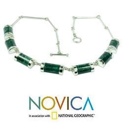 Sweet Maya Modern Handmade Artisan Green Jade Pendants on Bone Chain of 925 Sterling Silver Womens Collar Necklace (Guatemala)