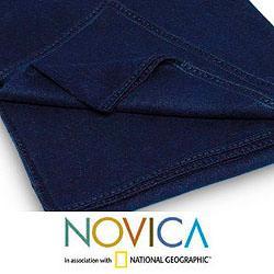 Handmade Alpaca Blend 'Ocean Blue' Blanket Queen-size (Peru) - Thumbnail 1