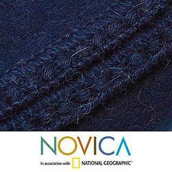 Handmade Alpaca Blend 'Ocean Blue' Blanket Queen-size (Peru) - Thumbnail 2
