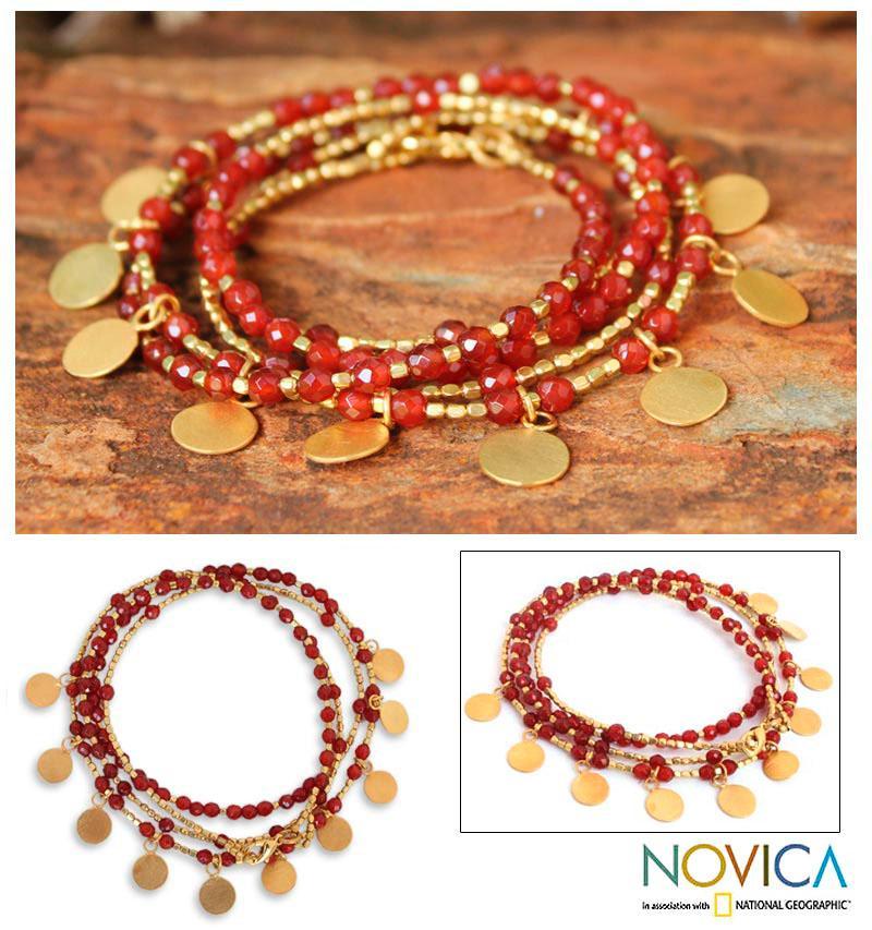Gold Overlay 'Orange Deva Dancer' Bracelet (Thailand)