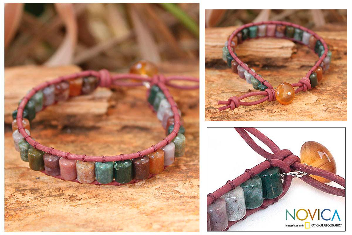 Leather 'Enchanted Forest' Agate Wristband Bracelet (Thailand)
