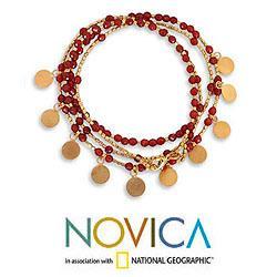Gold Overlay 'Orange Deva Dancer' Bracelet (Thailand) - Thumbnail 1