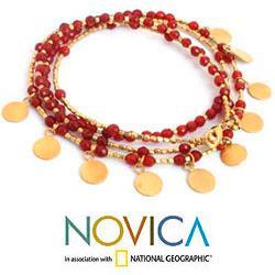 Gold Overlay 'Orange Deva Dancer' Bracelet (Thailand) - Thumbnail 2