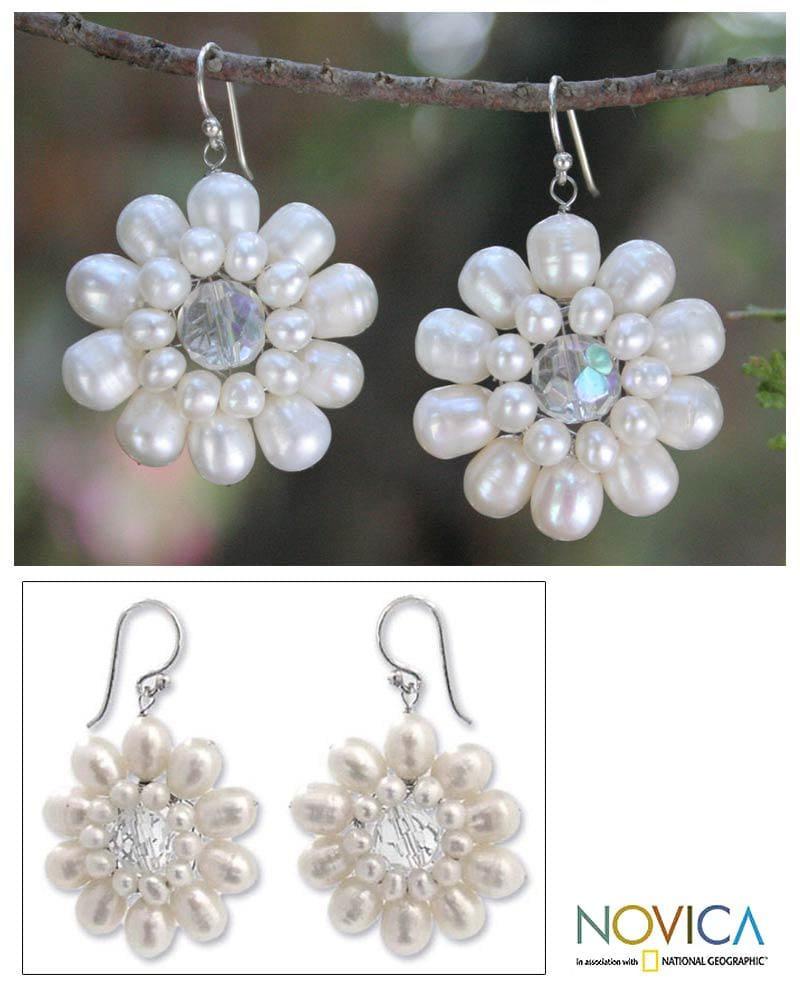 Sterling Silver 'Chrysanthemum' Pearl Earrings (3-6.5 mm) (Thailand)