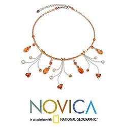 Stainless Steel 'Jungle Dancer' Carnelian Necklace (Thailand)