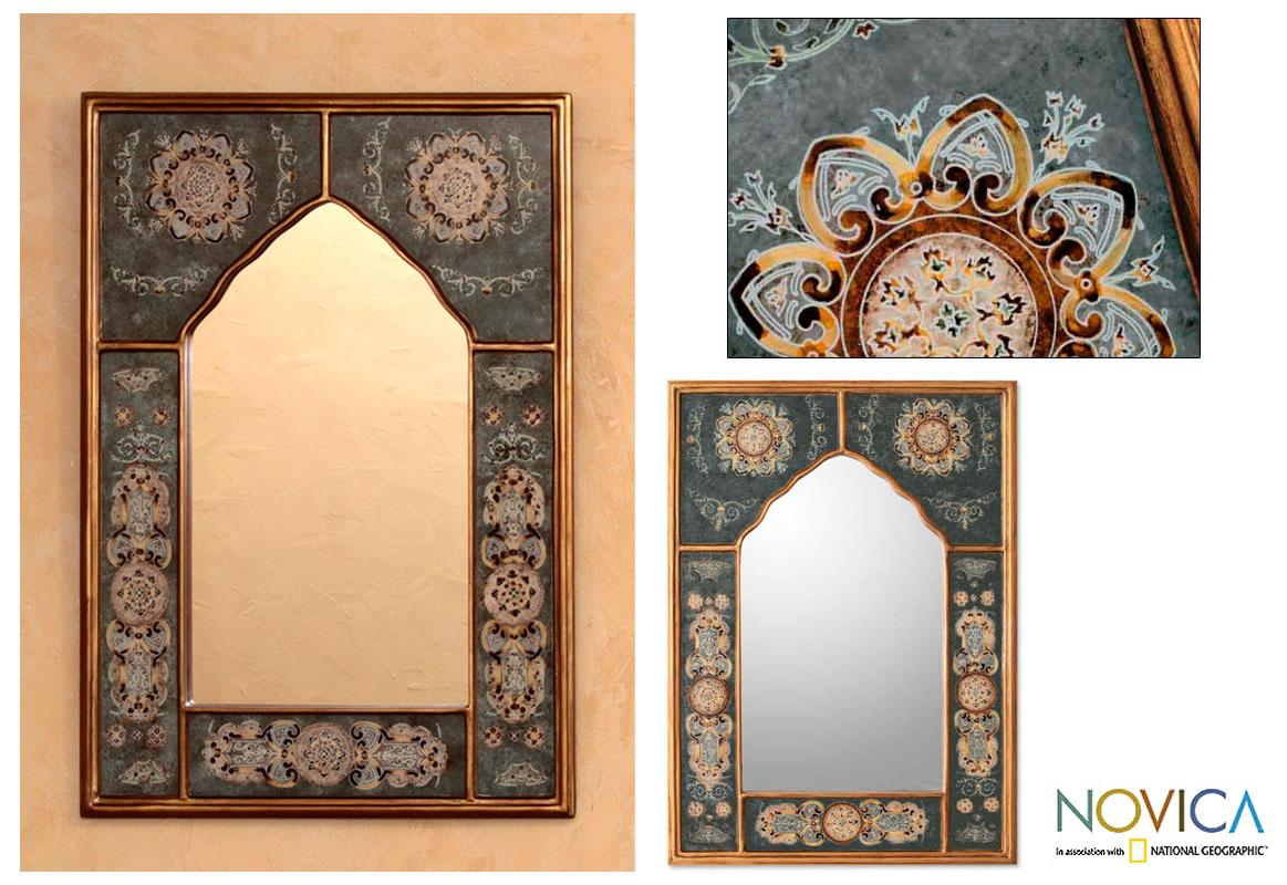 Reverse Painted Glass 'Sky Blossoms' Mirror (Peru)