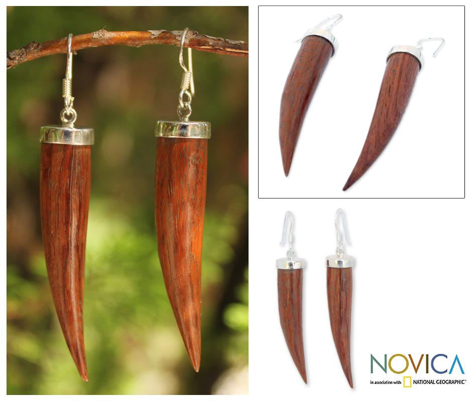 Sterling Silver 'All About Luck' Mango Wood Earrings (Thailand)