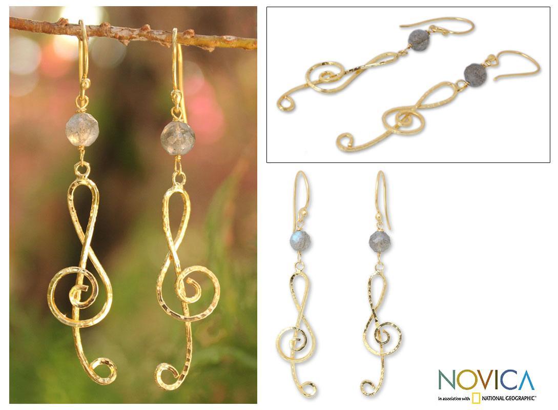 Gold Overlay 'Thai Melody' Labradorite Chandelier Earrings (Thailand)