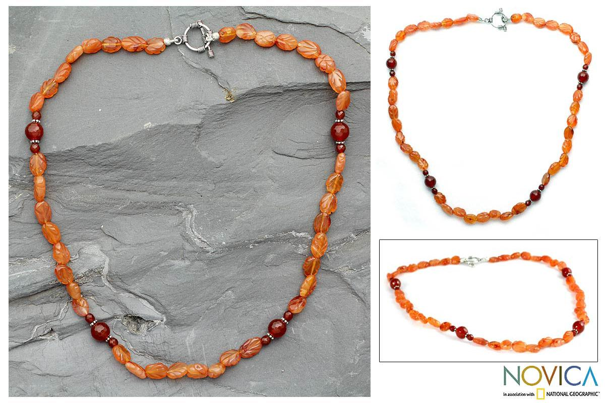 Sterling Silver 'Rajasthan Summer' Carnelian Necklace (India)