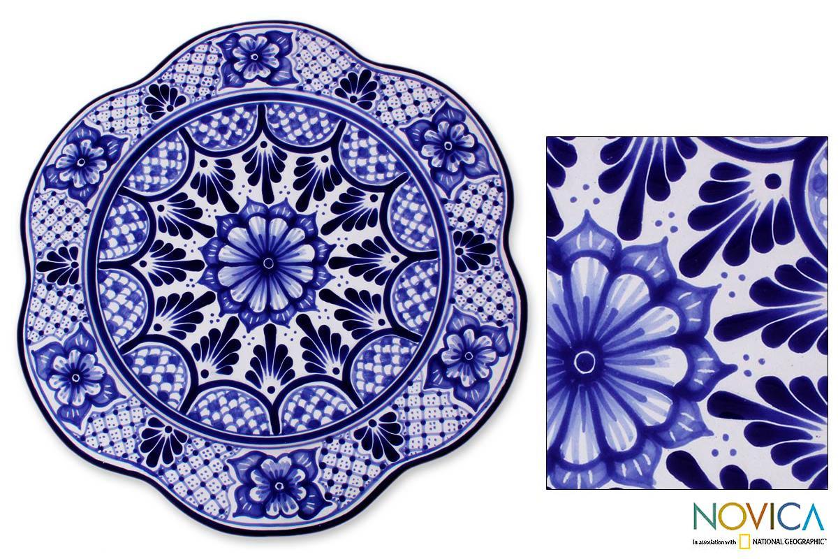 Handmade Talavera Ceramic 'Blue Duchess' Serving Plate (Mexico)
