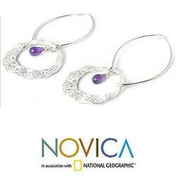 Sterling Silver 'Lanna Moon' Amethyst Dangle Earrings (Thailand)