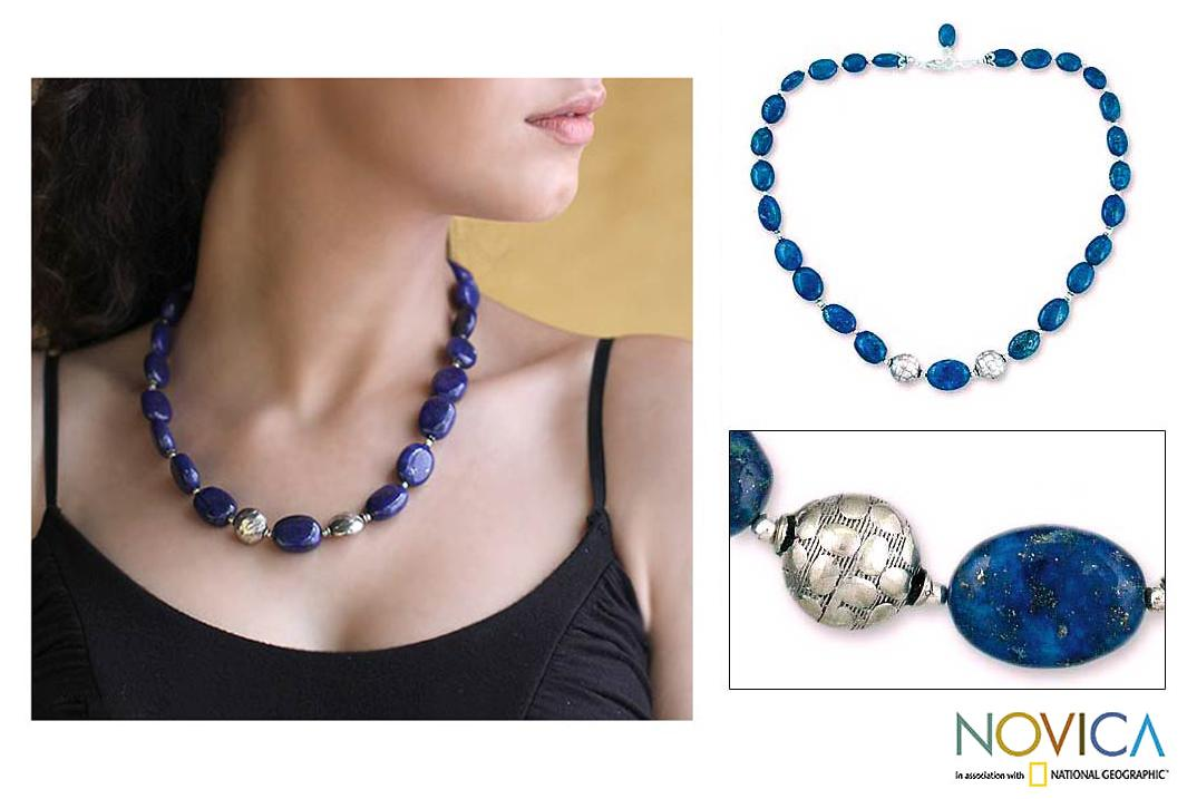Forever Love Oval Lapis Lazuli Beads with 925 Sterling Silver Rondelle Beads and Lobster Claw 19 Inch Womens Necklace (India) - Thumbnail 0