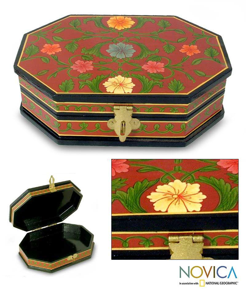 Handcrafted Wood 'Red Wine Octagon' Jewelry Box (India)