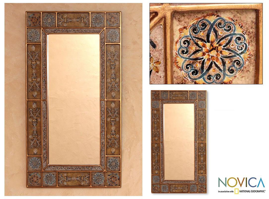 Handcrafted Reverse-painted Glass 'Golden Garland' Mirror (Peru)
