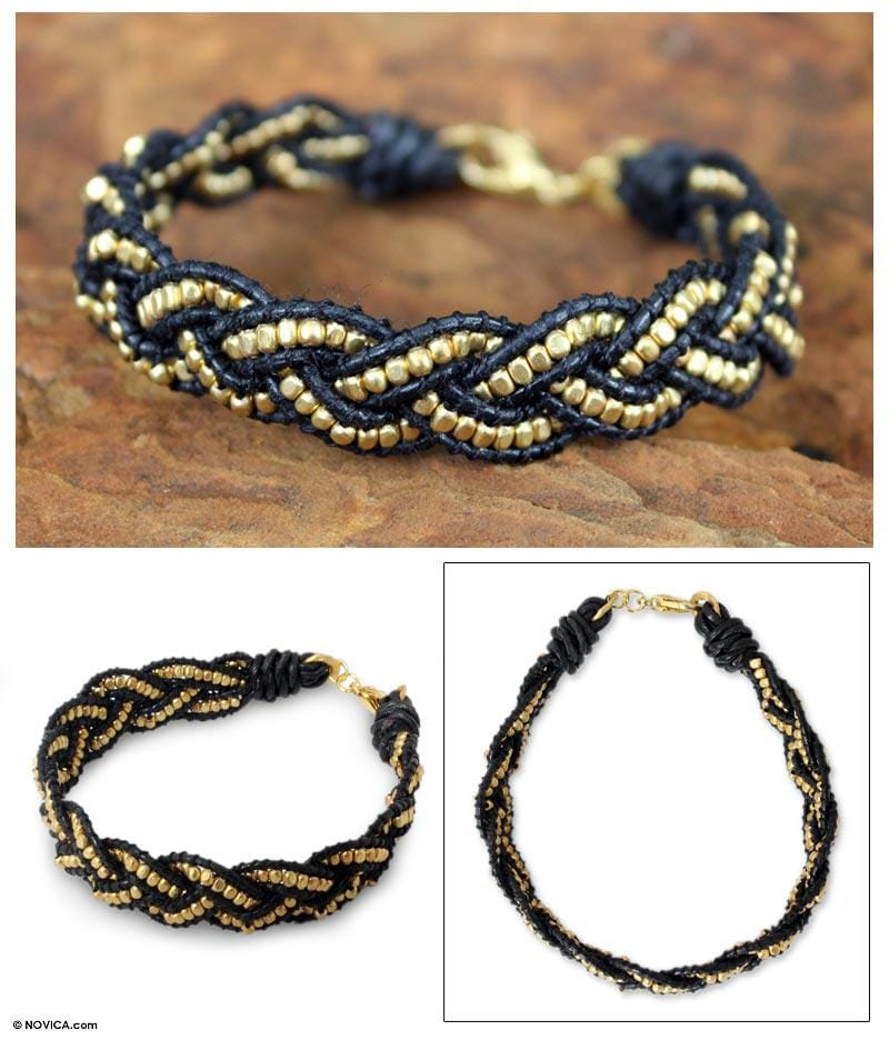 Gold Overlay 'Golden Night' Leather Bracelet  (Thailand)