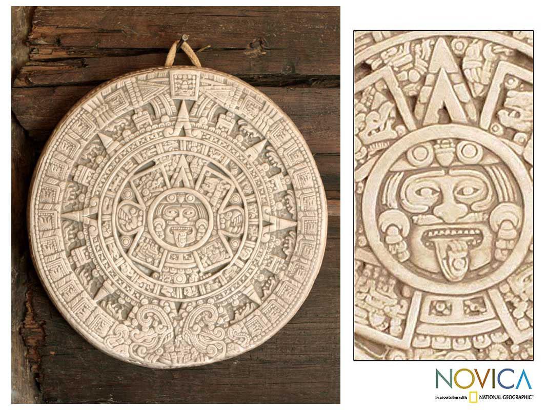 Ceramic 'Small Beige Aztec Calendar' Plaque (Mexico)