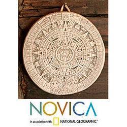 Ceramic 'Small Beige Aztec Calendar' Plaque (Mexico) - Thumbnail 0