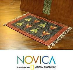 Indo Handcrafted Wool 'Sparrows' Area Rug 2 x 3 Feet (India) - Thumbnail 1