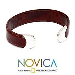 Silver 'Russet Sky' Leather Bracelet (Peru)