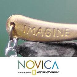 Gold Overlay Handcrafted 'Imagine If' Bracelet (Indonesia)