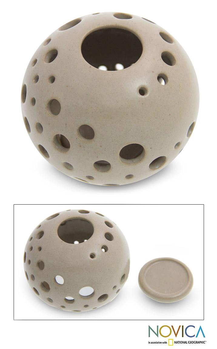 Handcrafted Ceramic 'Sugar Snowball' Candleholder (Indonesia)