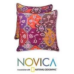 Set of Two Cotton 'Ubud Fire' Cushion Covers (Indonesia)