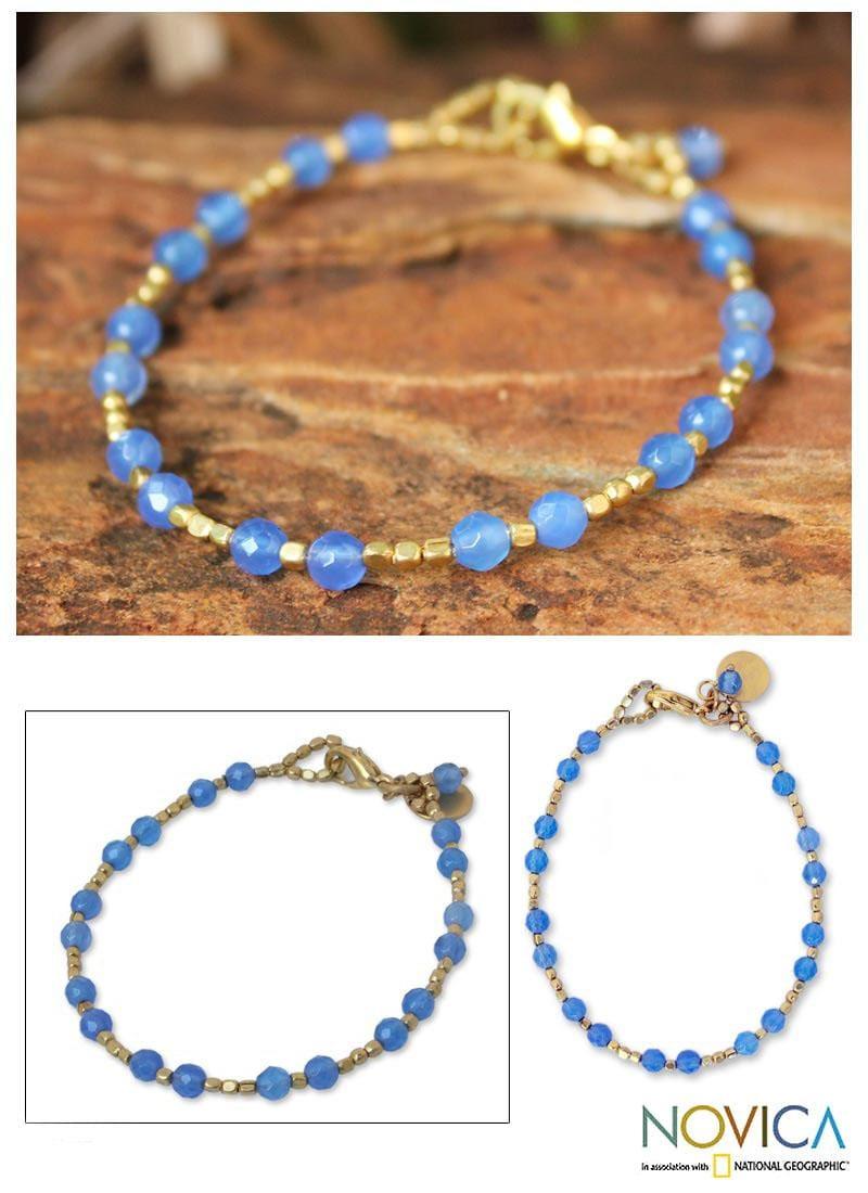 Gold Overlay 'Blue Divine Deva' Quartz Beaded Bracelet (Thailand)