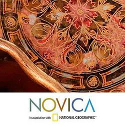 Painted Glass 'Rose Medallions' Mirror (Peru)