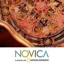 Painted Glass 'Rose Medallions' Mirror (Peru) - Thumbnail 2