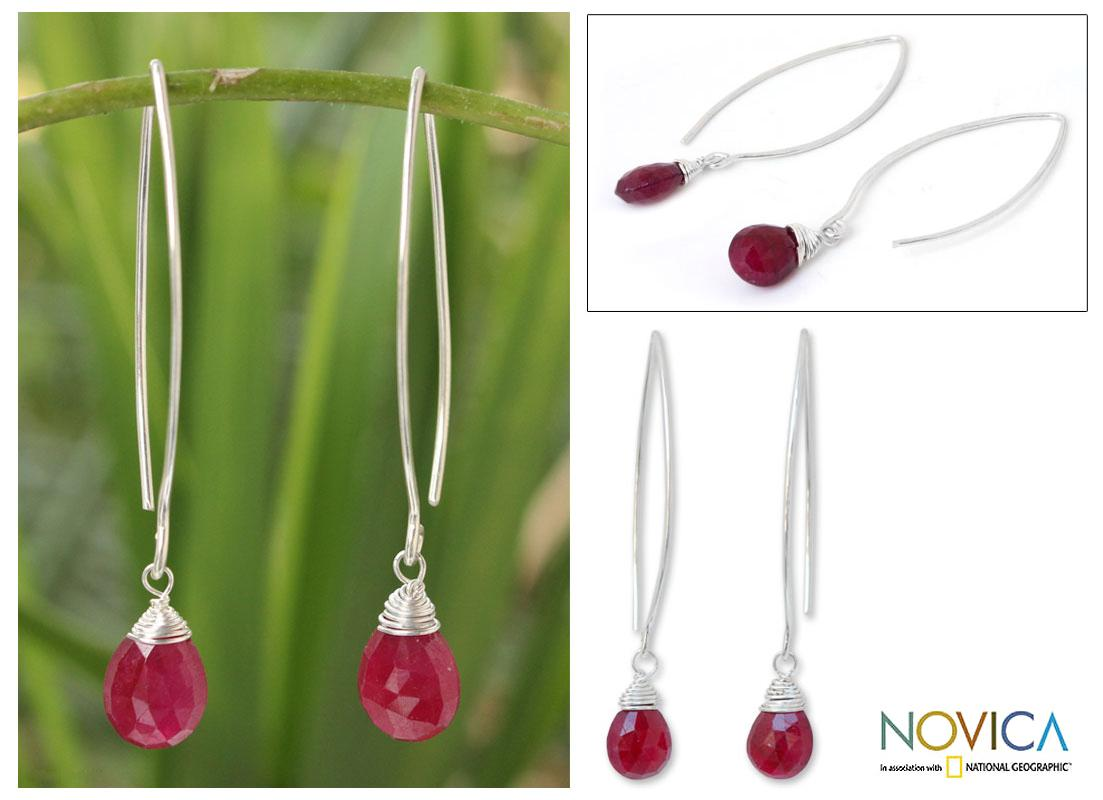 Sterling Silver 'Sublime' Ruby Earrings (Thailand)