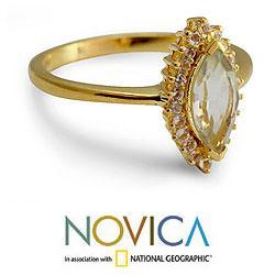 Gold Overlay 'Kashmir Star' Amethyst Topaz Ring (India)