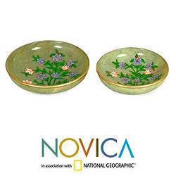 Set of 2 Handcrafted Soapstone 'Spring Violets' Centerpieces (India)